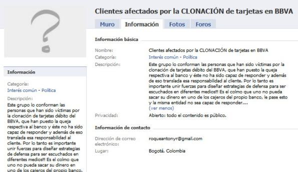 Grupo en Facebook de afectados por el BBVA